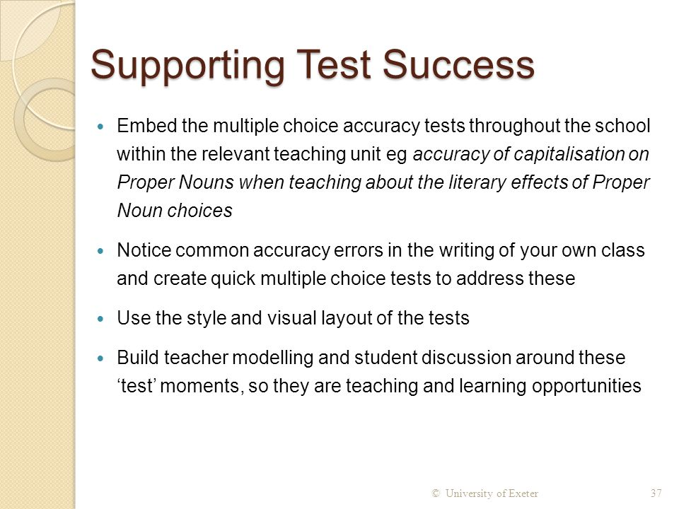 Supporting Test Success