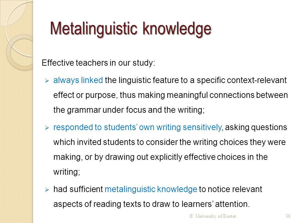 Metalinguistic knowledge