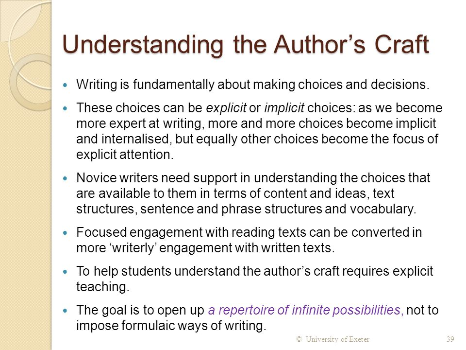Understanding the Author's Craft