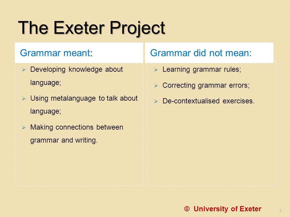 The Exeter Project Grammar meant: Grammar did not mean: