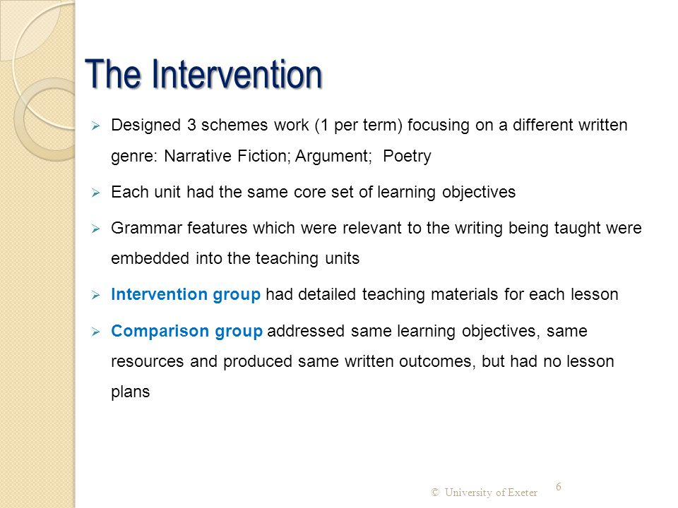 The Intervention Designed 3 schemes work (1 per term) focusing on a different written genre: Narrative Fiction; Argument; Poetry.