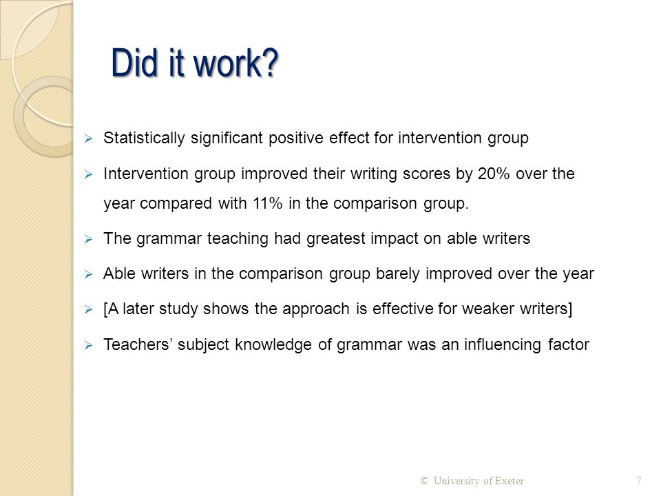 Did it work Statistically significant positive effect for intervention group.