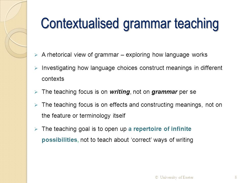 Contextualised grammar teaching