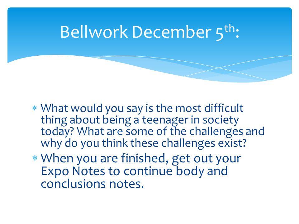 Bellwork December 5th: