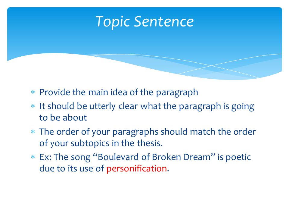 Topic Sentence Provide the main idea of the paragraph