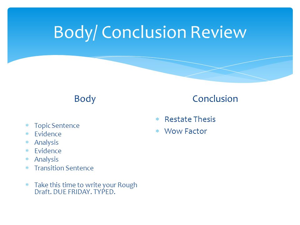 Body/ Conclusion Review