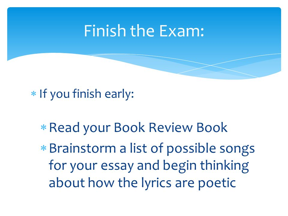 Finish the Exam: Read your Book Review Book