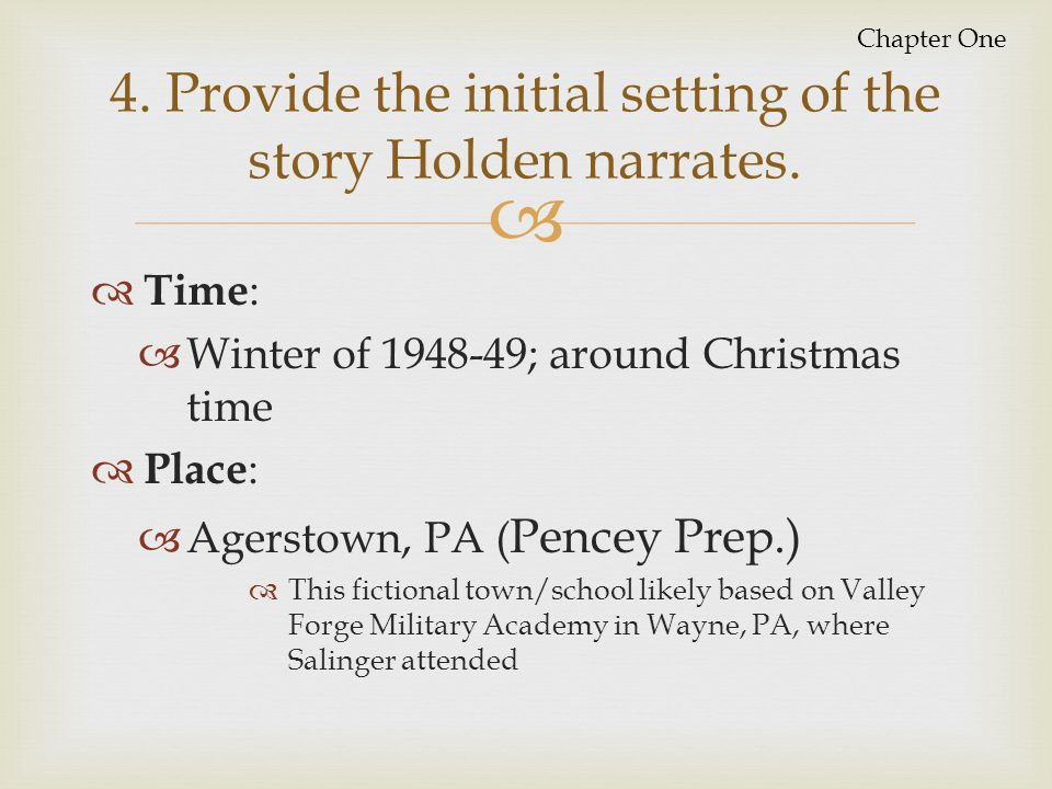 4. Provide the initial setting of the story Holden narrates.