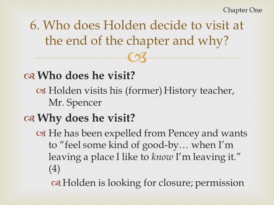 6. Who does Holden decide to visit at the end of the chapter and why