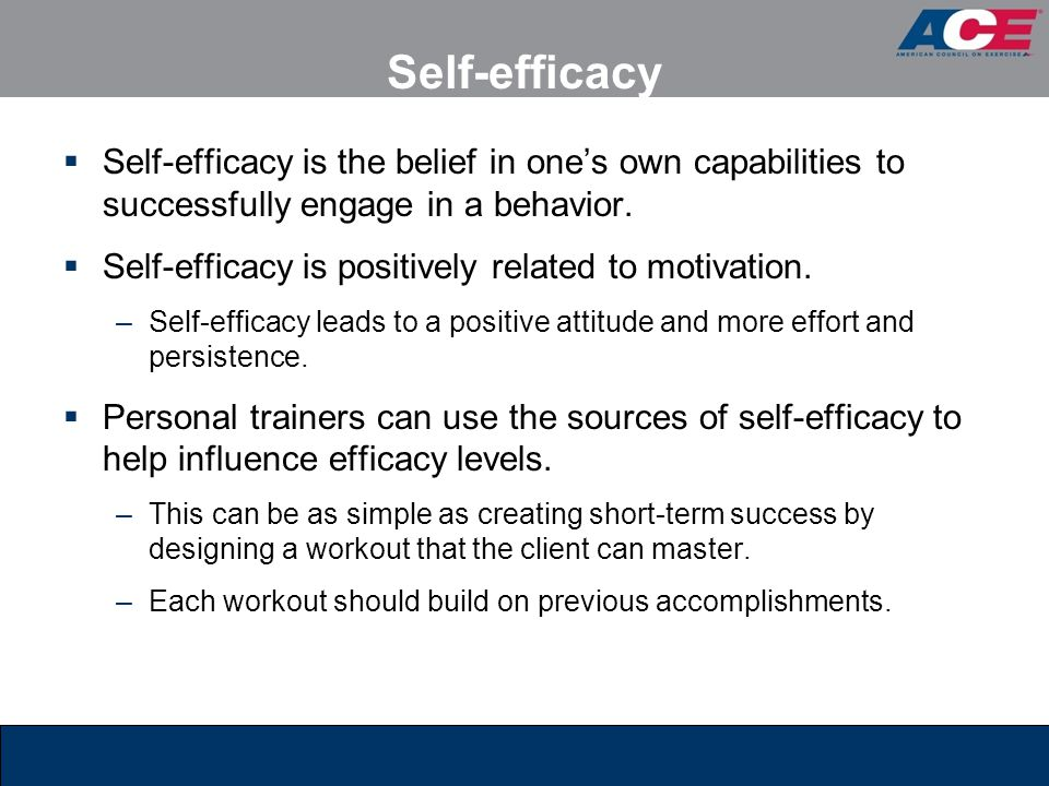 Self-efficacy Self-efficacy is the belief in one's own capabilities to successfully engage in a behavior.
