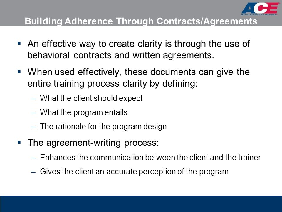 Building Adherence Through Contracts/Agreements