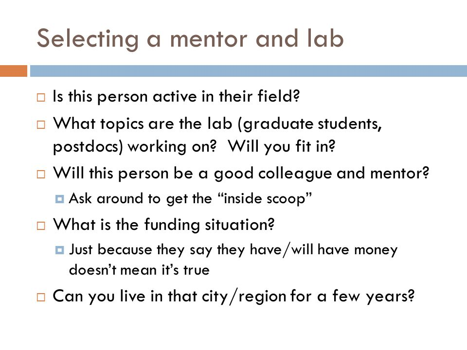 Selecting a mentor and lab