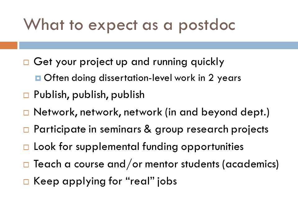 What to expect as a postdoc