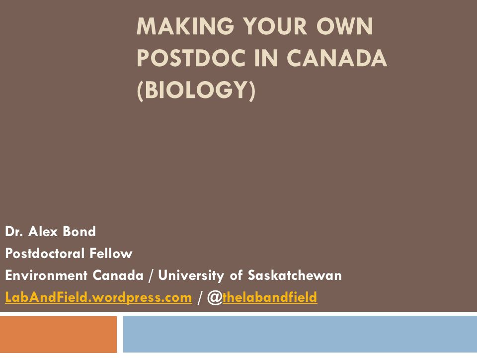 Making your own postdoc in Canada (Biology)