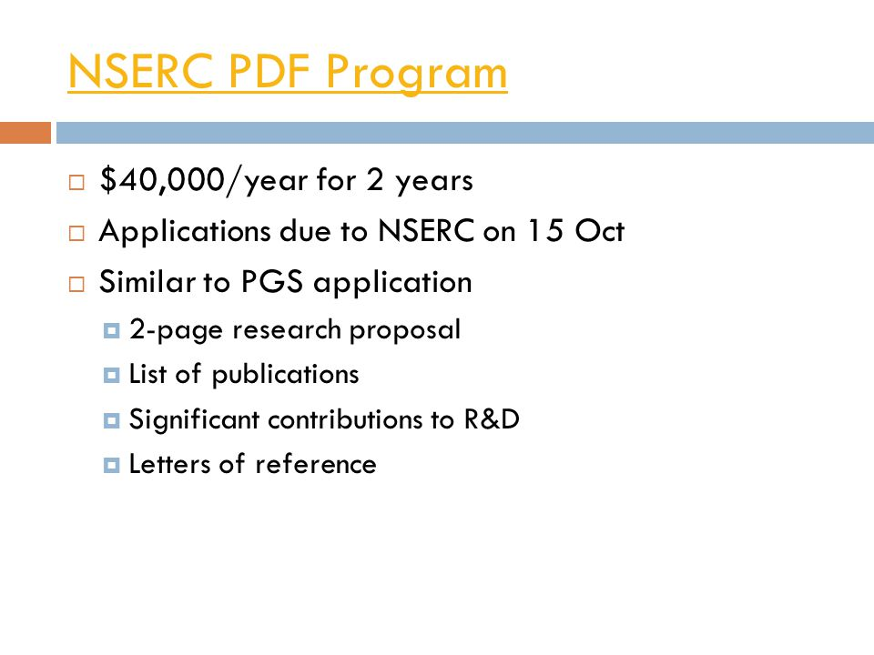NSERC PDF Program $40,000/year for 2 years