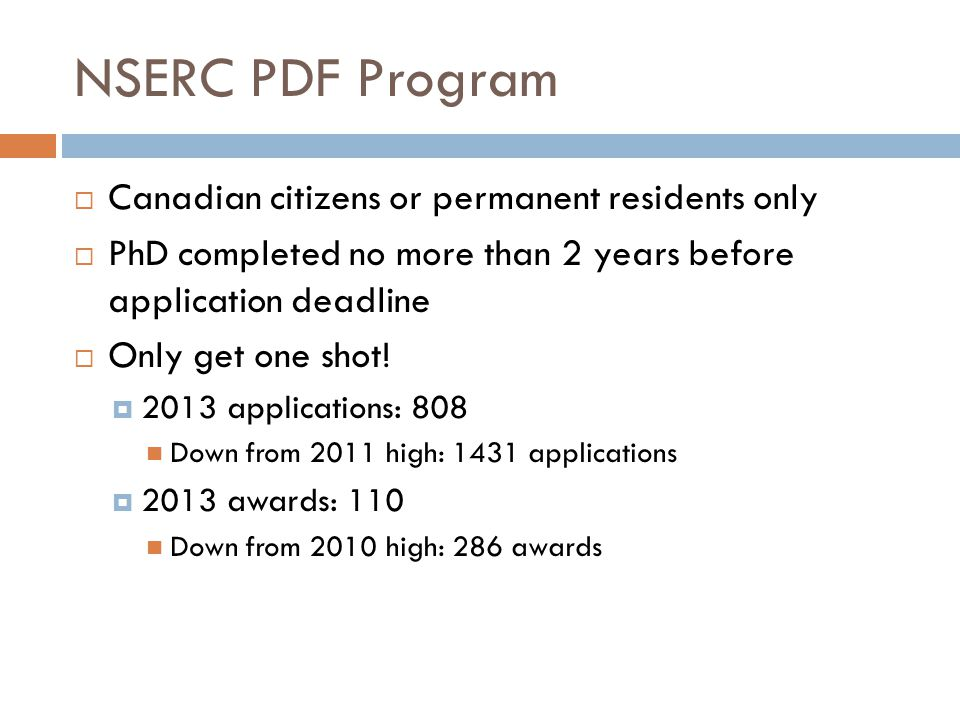 NSERC PDF Program Canadian citizens or permanent residents only