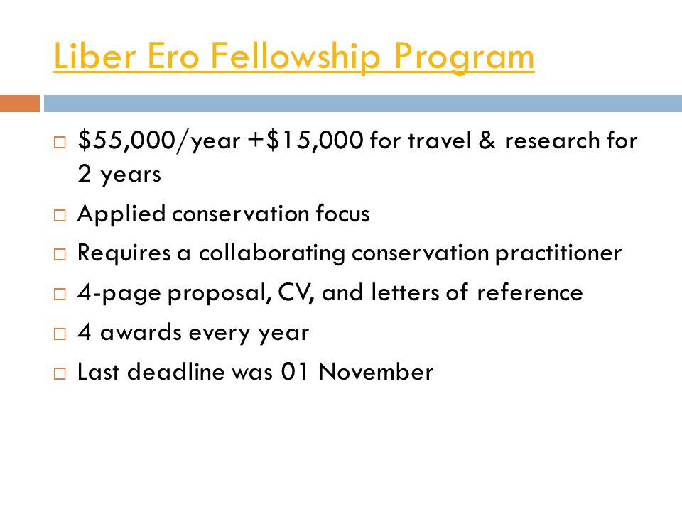 Liber Ero Fellowship Program