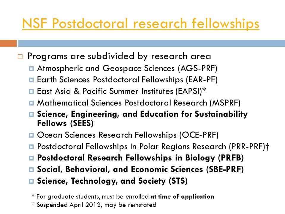 NSF Postdoctoral research fellowships