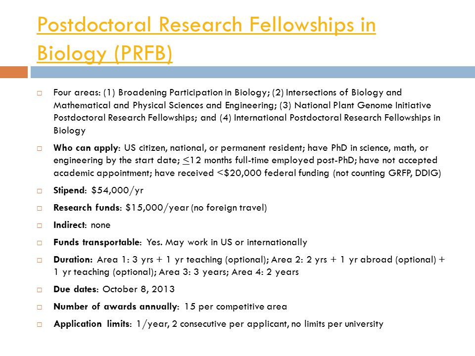 Postdoctoral Research Fellowships in Biology (PRFB)