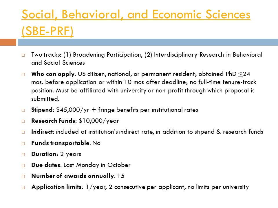 Social, Behavioral, and Economic Sciences (SBE-PRF)