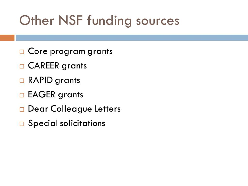 Other NSF funding sources