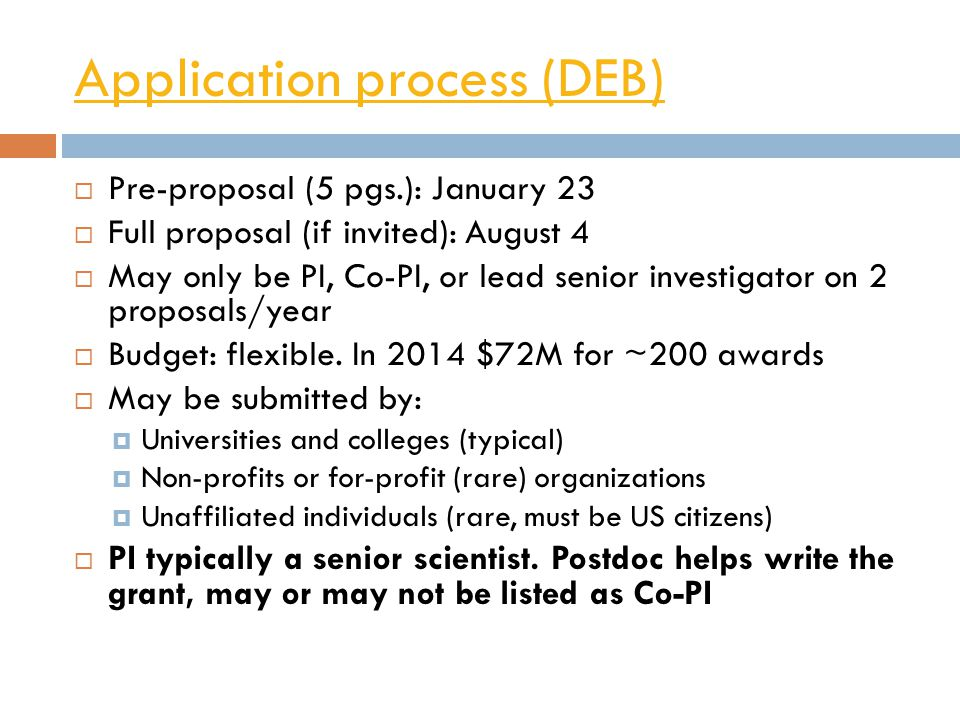 Application process (DEB)