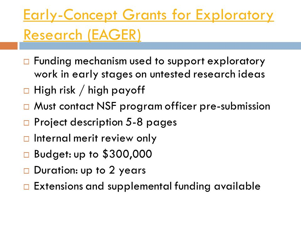 Early-Concept Grants for Exploratory Research (EAGER)