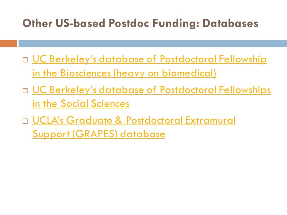 Other US-based Postdoc Funding: Databases