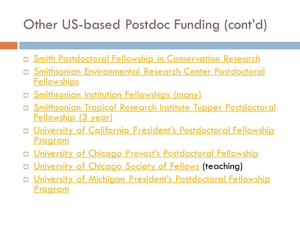 Other US-based Postdoc Funding (cont'd)