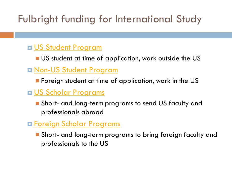 Fulbright funding for International Study