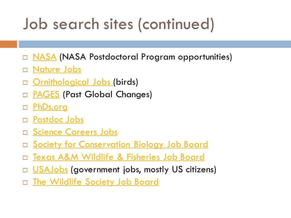 Job search sites (continued)