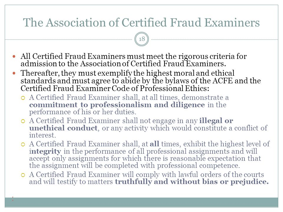 The Association of Certified Fraud Examiners