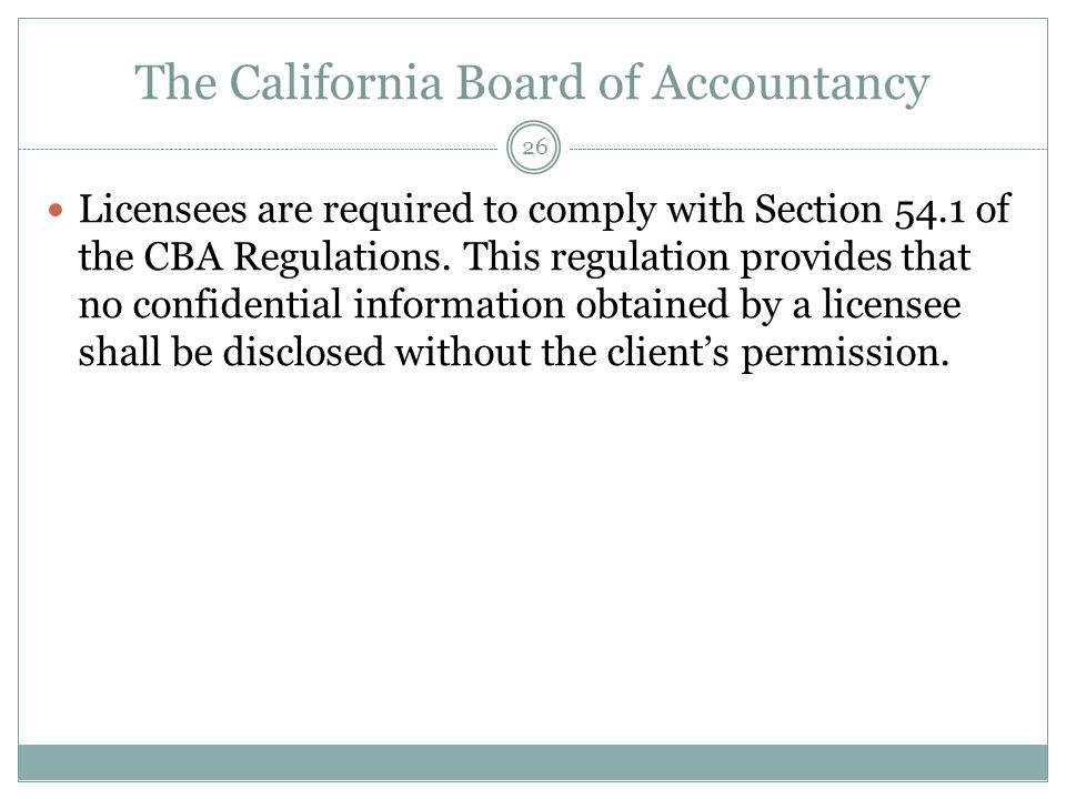 The California Board of Accountancy