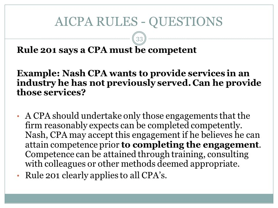 AICPA RULES - QUESTIONS