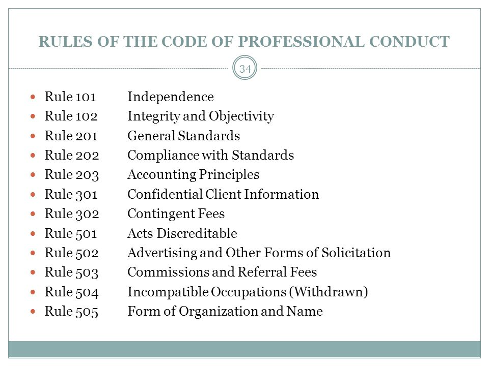 RULES OF THE CODE OF PROFESSIONAL CONDUCT