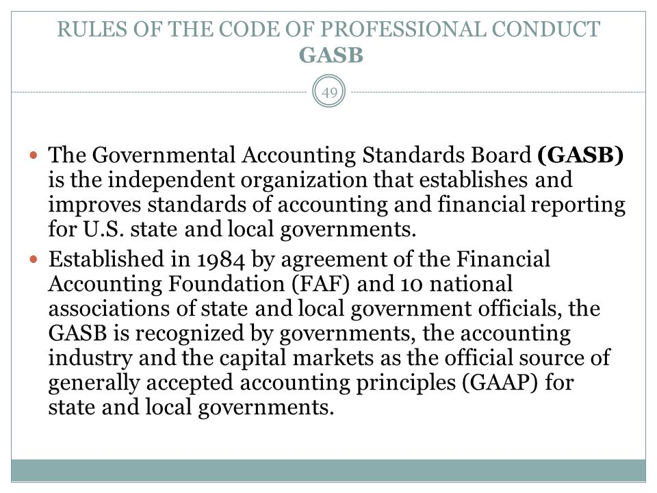 RULES OF THE CODE OF PROFESSIONAL CONDUCT GASB