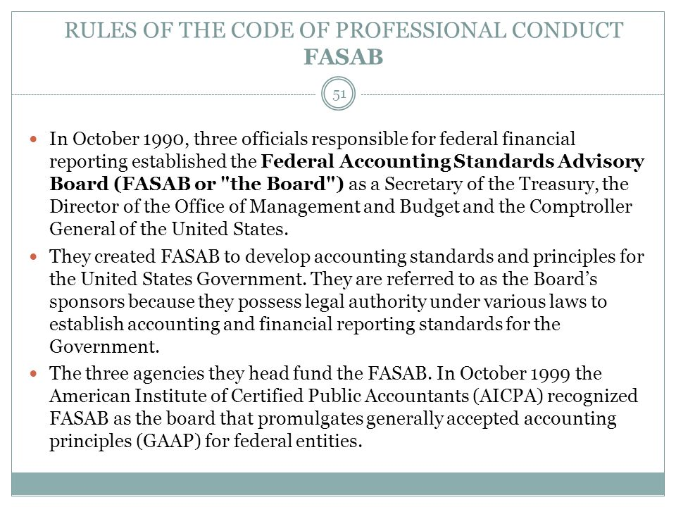 RULES OF THE CODE OF PROFESSIONAL CONDUCT FASAB