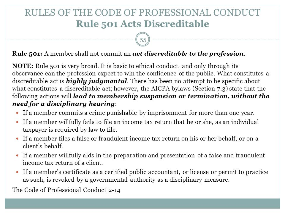 RULES OF THE CODE OF PROFESSIONAL CONDUCT Rule 501 Acts Discreditable
