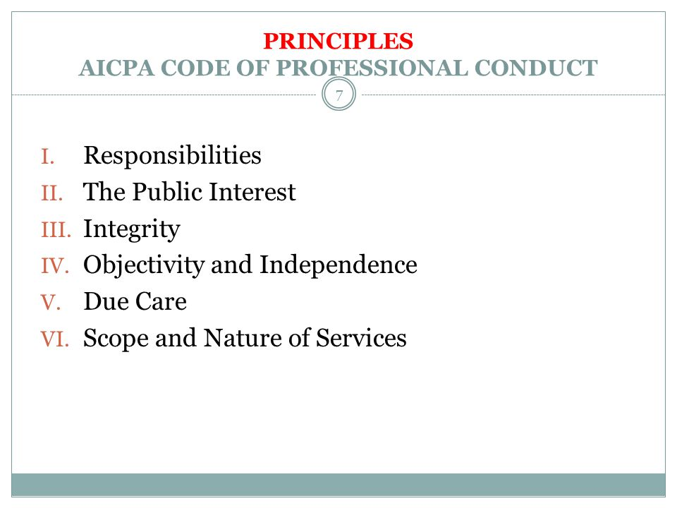 PRINCIPLES AICPA CODE OF PROFESSIONAL CONDUCT