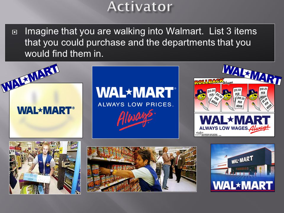 Activator Imagine that you are walking into Walmart.