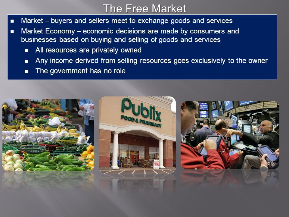 The Free Market Market – buyers and sellers meet to exchange goods and services.