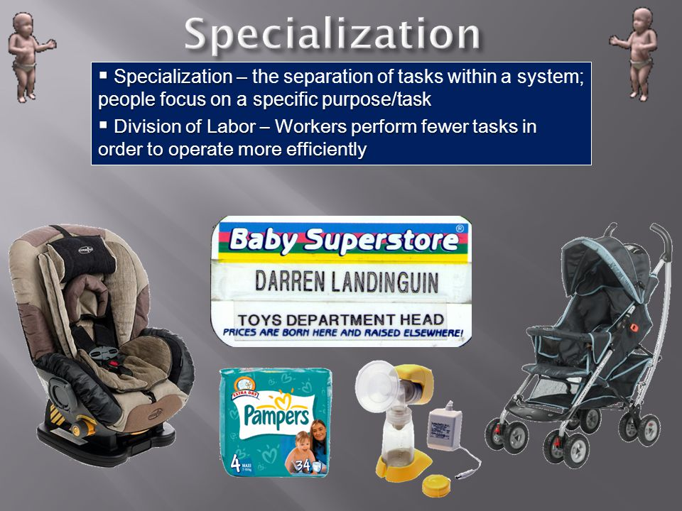 Specialization Specialization – the separation of tasks within a system; people focus on a specific purpose/task.