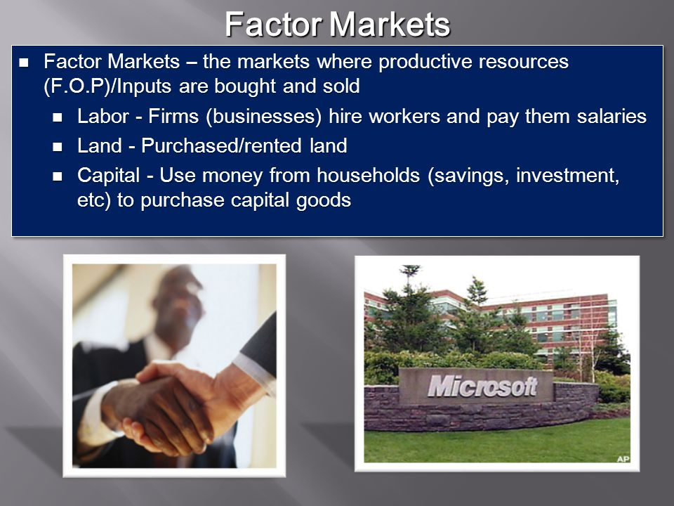 Factor Markets Factor Markets – the markets where productive resources (F.O.P)/Inputs are bought and sold.