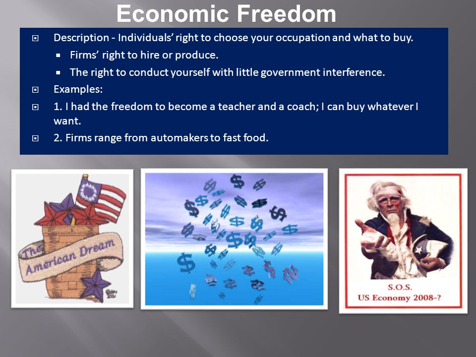 Economic Freedom Description - Individuals' right to choose your occupation and what to buy. Firms' right to hire or produce.