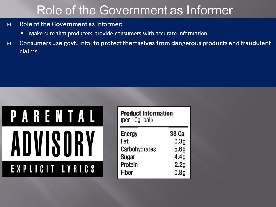 Role of the Government as Informer