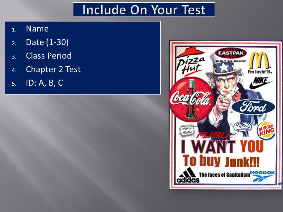 Include On Your Test Junk!!! Name Date (1-30) Class Period