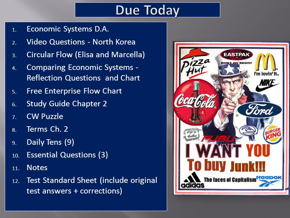 Due Today Junk!!! Economic Systems D.A. Video Questions - North Korea