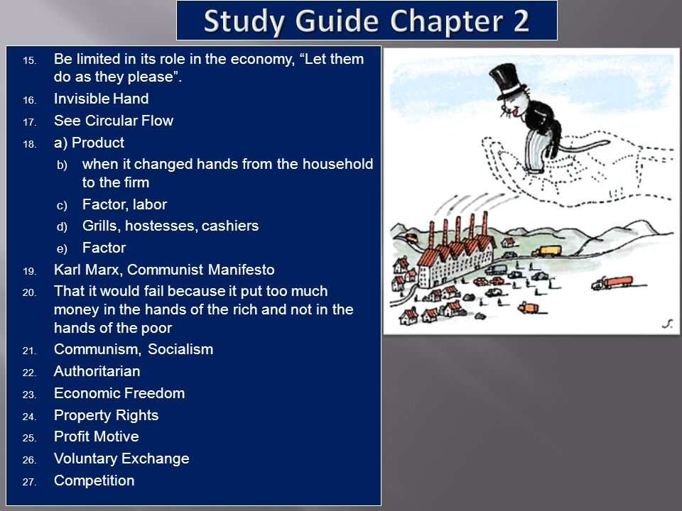 Study Guide Chapter 2 Be limited in its role in the economy, Let them do as they please . Invisible Hand.