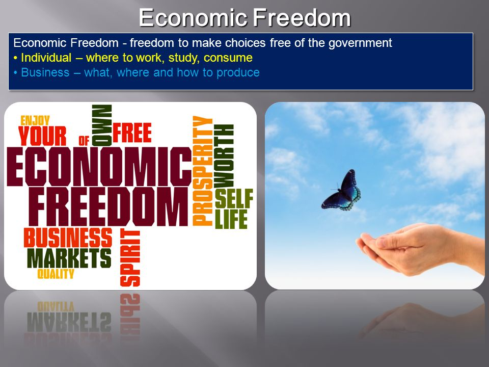 Economic Freedom Economic Freedom - freedom to make choices free of the government. Individual – where to work, study, consume.