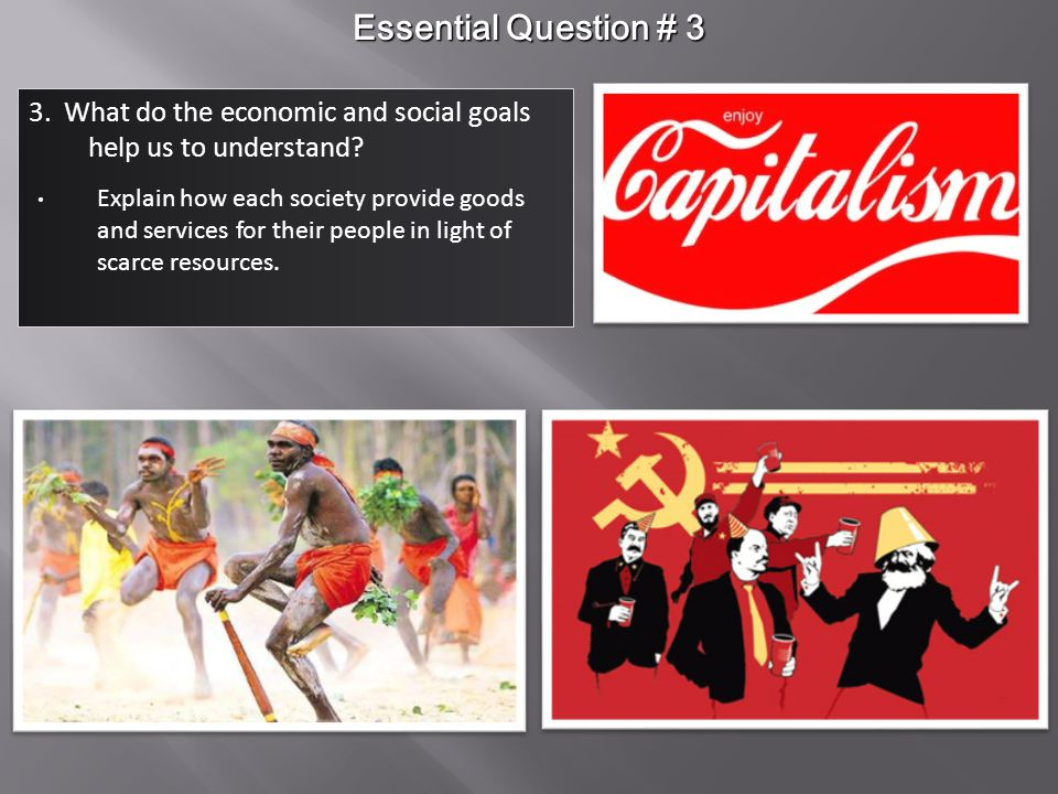 Essential Question # 3 3. What do the economic and social goals help us to understand